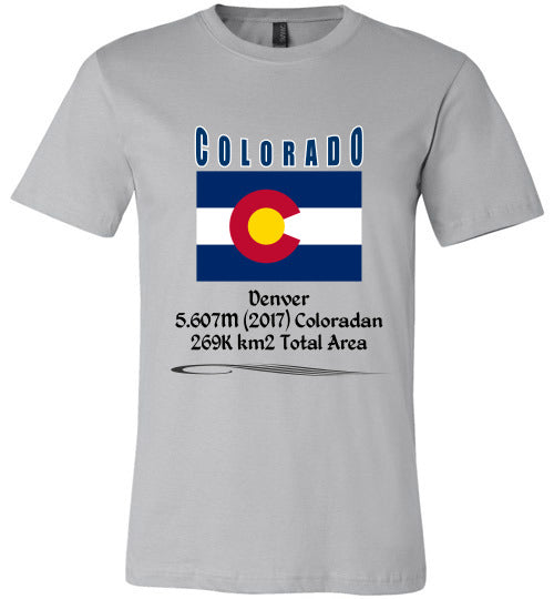 Colorado State Shirt - Flag, Capital, Population, Resident's Name, Total Area - Unisex - Silver