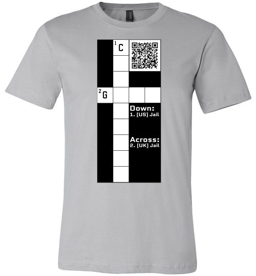 Unisex Canvas T-Shirt | CPZ001 Crossword Puzzle - Jail - Silver