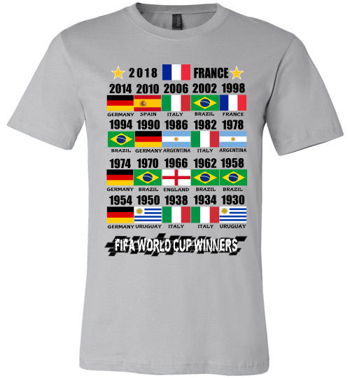 Canvas Unisex T-Shirt | FIFA World Cup Winners with Flags (1930 - 2018) - Silver