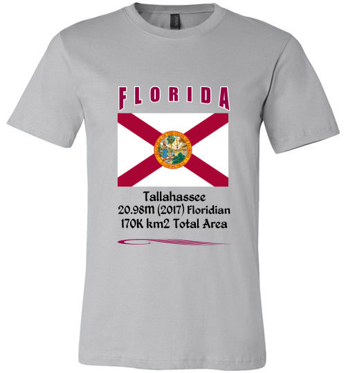 Florida State Shirt - Flag, Capital, Population, Resident's Name, Total Area - Unisex - Silver