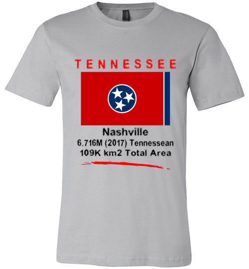 Tennessee State Shirt - Flag, Capital, Population, Resident's Name, Total Area - Unisex - Silver