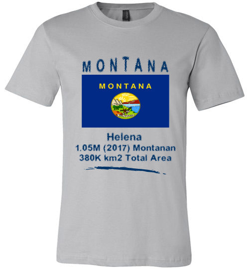 Montana State Shirt - Flag, Capital, Population, Resident's Name, Total Area - Unisex - Silver