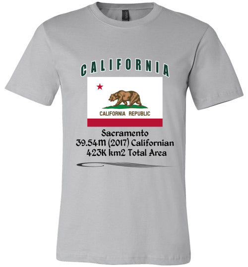 California State Shirt - Flag, Capital, Population, Resident's Name, Total Area - Unisex - Silver