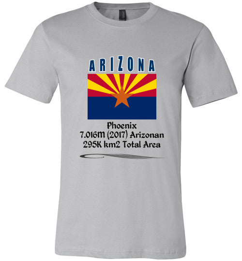 Arizona State Shirt - Flag, Capital, Population, Resident's Name, Total Area - Unisex - Silver