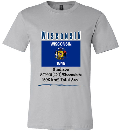 Wisconsin State Shirt - Flag, Capital, Population, Resident's Name, Total Area - Unisex - Silver
