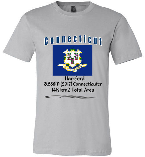 Connecticut State Shirt - Flag, Capital, Population, Resident's Name, Total Area - Unisex - Silver