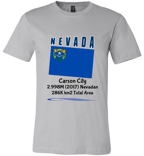 Nevada State Shirt - Flag, Capital, Population, Resident's Name, Total Area - Unisex - Silver