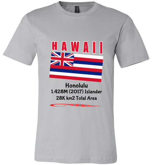Hawaii State Shirt - Flag, Capital, Population, Resident's Name, Total Area - Unisex - Silver
