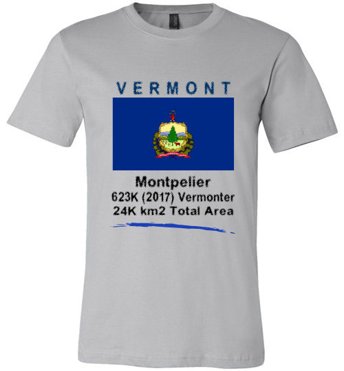 Vermont State Shirt - Flag, Capital, Population, Resident's Name, Total Area - Unisex - Silver