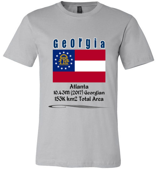 Georgia State Shirt - Flag, Capital, Population, Resident's Name, Total Area - Unisex - Silver