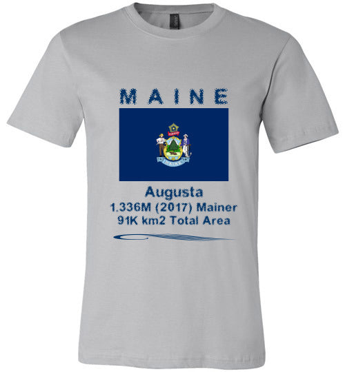 Maine State Shirt - Flag, Capital, Population, Resident's Name, Total Area - Unisex - Silver