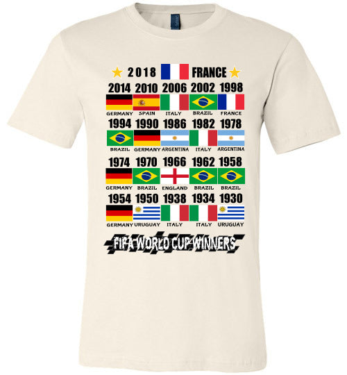 Canvas Unisex T-Shirt | FIFA World Cup Winners with Flags (1930 - 2018) - Soft Cream
