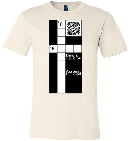 Unisex Canvas T-Shirt | CPZ001 Crossword Puzzle - Jail - Soft Cream