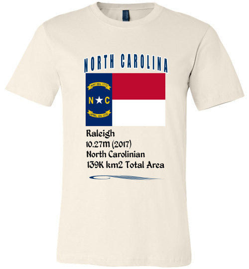 North Carolina State Shirt - Flag, Capital, Population, Resident's Name, Total Area - Unisex - Soft Cream