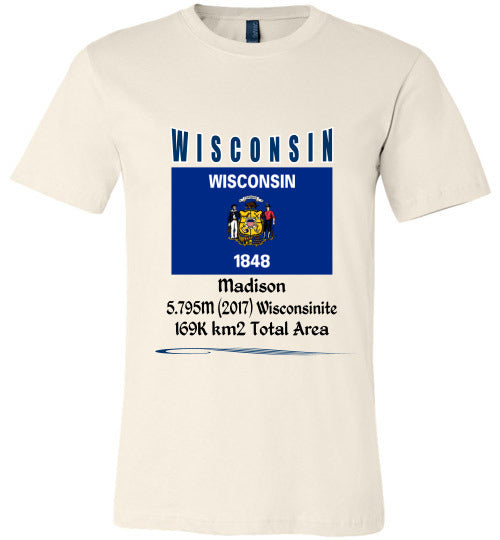 Wisconsin State Shirt - Flag, Capital, Population, Resident's Name, Total Area - Unisex - Soft Cream