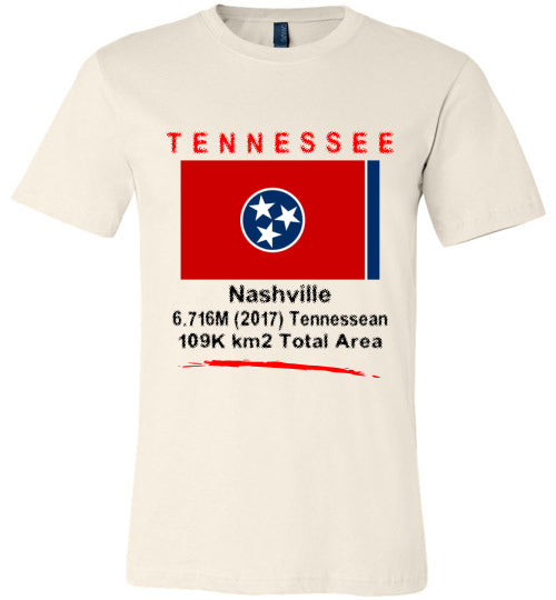 Tennessee State Shirt - Flag, Capital, Population, Resident's Name, Total Area - Unisex - Soft Cream