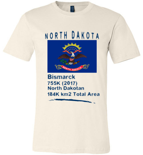 North Dakota State Shirt - Flag, Capital, Population, Resident's Name, Total Area - Unisex - Soft Cream