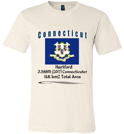 Connecticut State Shirt - Flag, Capital, Population, Resident's Name, Total Area - Unisex - Soft Cream