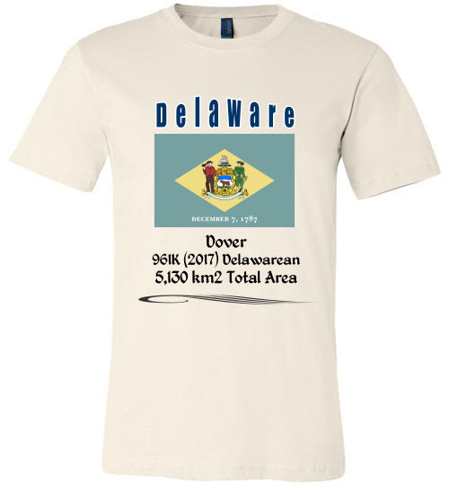 Delaware State Shirt - Flag, Capital, Population, Resident's Name, Total Area - Unisex - Soft Cream