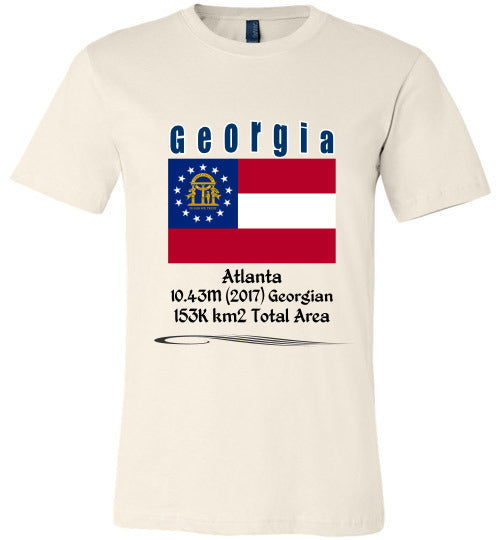 Georgia State Shirt - Flag, Capital, Population, Resident's Name, Total Area - Unisex - Soft Cream