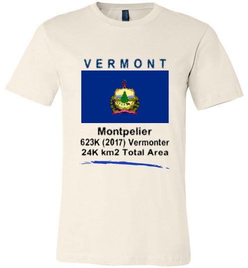 Vermont State Shirt - Flag, Capital, Population, Resident's Name, Total Area - Unisex - Soft Cream