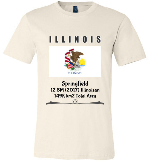 Illinois State Shirt - Flag, Capital, Population, Resident's Name, Total Area - Unisex - Soft Cream
