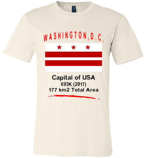 Washington DC State Shirts - Flag, Capital, Population, Total Area - Unisex - Soft Cream