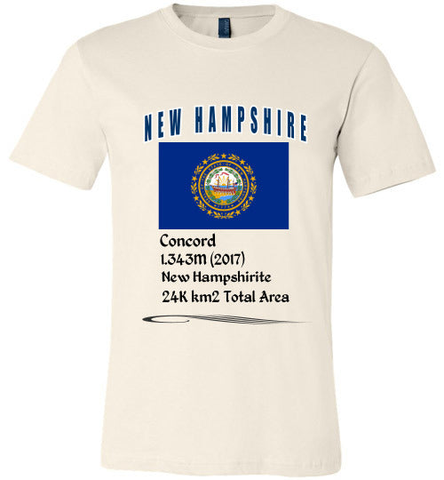 New Hampshire State Shirt - Flag, Capital, Population, Resident's Name, Total Area - Unisex - Soft Cream
