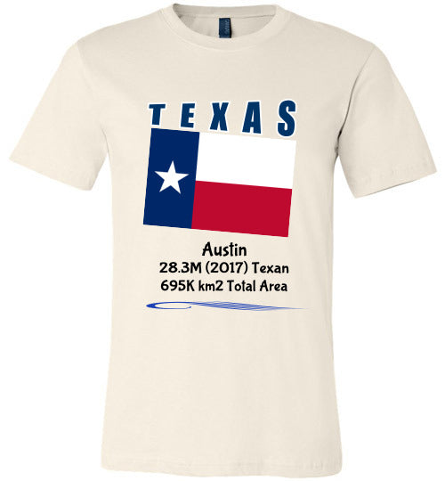 Texas State Shirt - Flag, Capital, Population, Resident's Name, Total Area - Unisex - Soft Cream