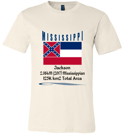 Mississippi State Shirt - Flag, Capital, Population, Resident's Name, Total Area - Unisex - Soft Cream