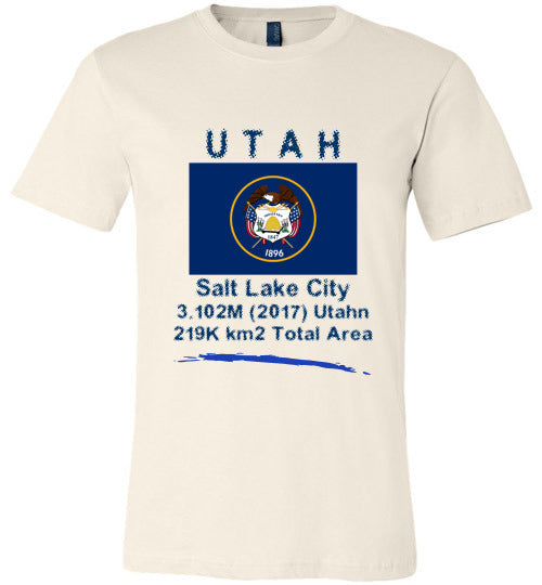 Utah State Shirt - Flag, Capital, Population, Resident's Name, Total Area - Unisex - Soft cream