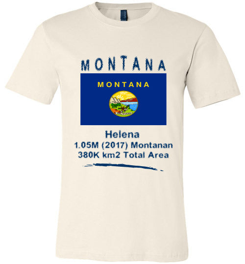 Montana State Shirt - Flag, Capital, Population, Resident's Name, Total Area - Unisex - Soft Cream
