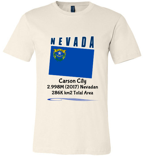 Nevada State Shirt - Flag, Capital, Population, Resident's Name, Total Area - Unisex - Soft Cream