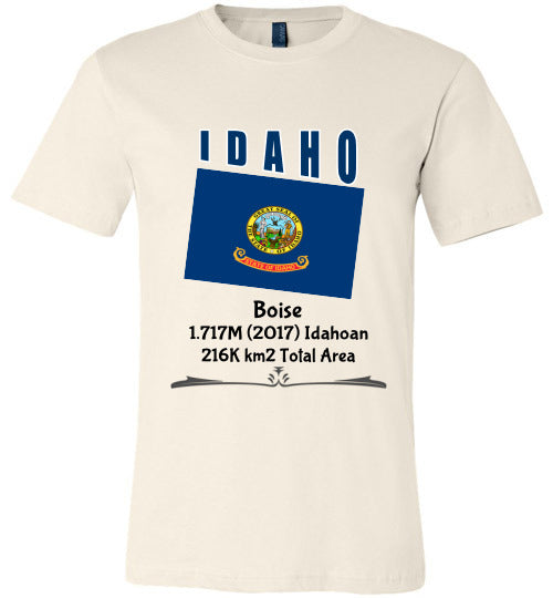 Idaho State Shirt - Flag, Capital, Population, Resident's Name, Total Area - Unisex - Soft Cream