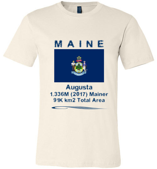 Maine State Shirt - Flag, Capital, Population, Resident's Name, Total Area - Unisex - Soft Cream