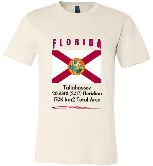 Florida State Shirt - Flag, Capital, Population, Resident's Name, Total Area - Unisex - Soft Cream