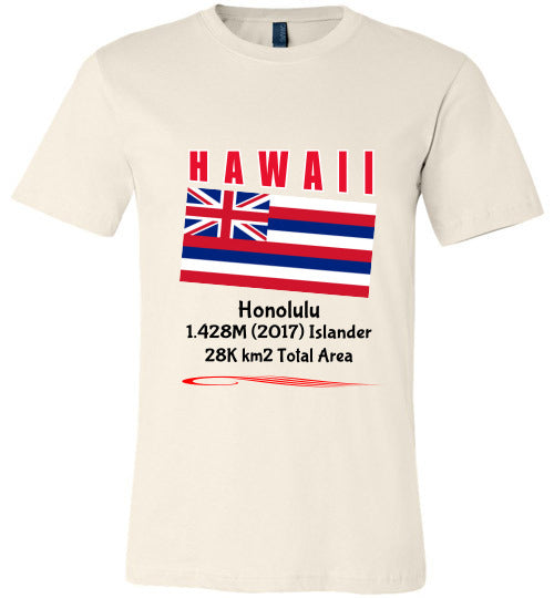 Hawaii State Shirt - Flag, Capital, Population, Resident's Name, Total Area - Unisex - Soft Cream