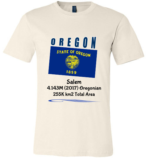 Oregon State Shirt - Flag, Capital, Population, Resident's Name, Total Area - Unisex - Soft Cream