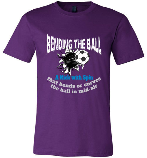 Sports Soccer Niche T-Shirt - Bending The Ball - Purple