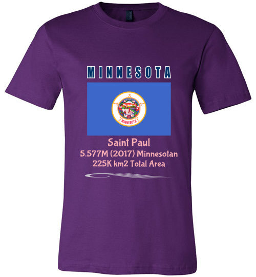 Minnesota State Shirt - Flag, Capital, Population, Resident's Name, Total Area - Unisex - Purple