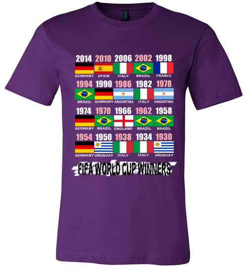 Sports Soccer Niche T-Shirt - FIFA World Cup Winners With Flag (1930 - 2014) - Purple