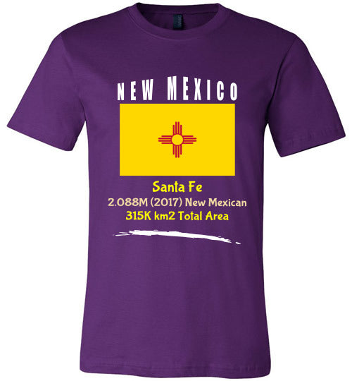 New Mexico State Shirt - Flag, Capital, Population, Resident's Name, Total Area - Unisex - Purple