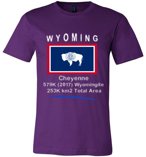 Wyoming State Shirt - Flag, Capital, Population, Resident's Name, Total Area - Unisex - Purple