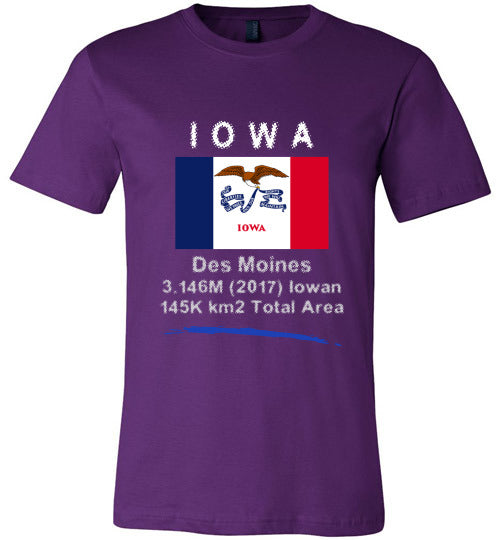 Iowa State Shirt - Flag, Capital, Population, Resident's Name, Total Area - Unisex - Purple