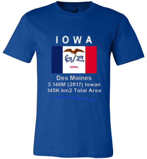 Iowa State Shirt - Flag, Capital, Population, Resident's Name, Total Area - Unisex - True Royal