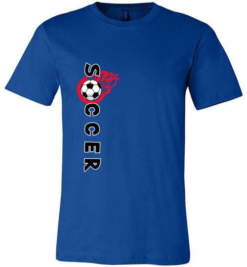 Sports Soccer Niche T-Shirt - Soccer Flame - True Royal