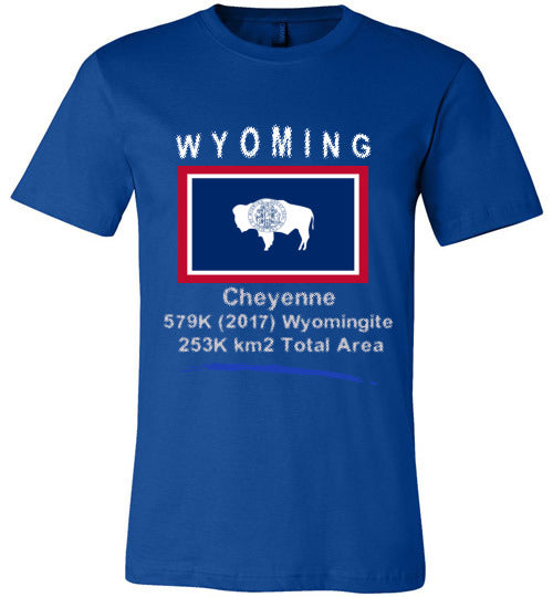 Wyoming State Shirt - Flag, Capital, Population, Resident's Name, Total Area - Unisex - Blue