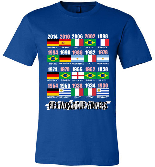Sports Soccer Niche T-Shirt - FIFA World Cup Winners With Flag (1930 - 2014) - True Royal