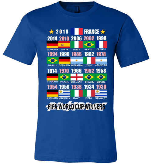 Canvas Unisex T-Shirt | FIFA World Cup Winners (Flag) 1930 - 2018 - True Royal