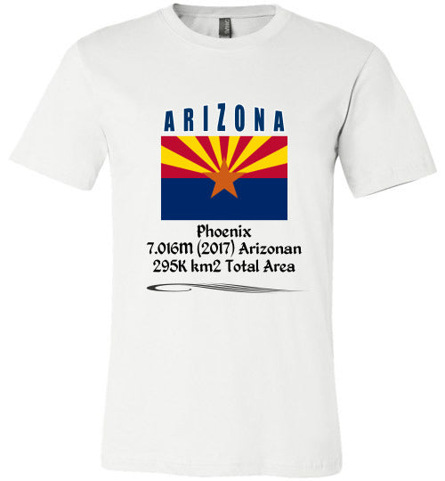 Arizona State Shirt - Flag, Capital, Population, Resident's Name, Total Area - Unisex - White
